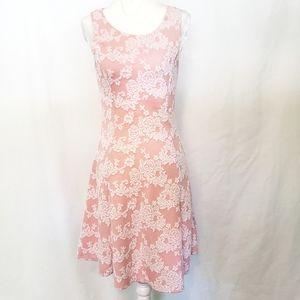 Peach/White Patterned Sleeveless Summer Dress